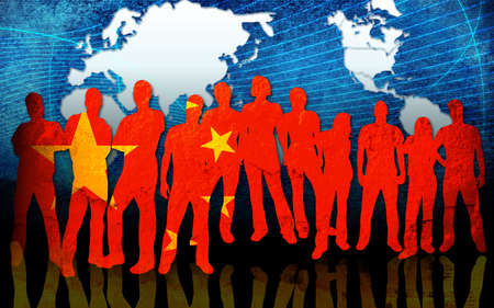 china flag style of people silhouettes photo