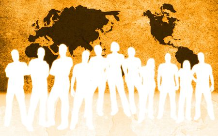 world map and people silhouettes  Stock Photo - 3186478