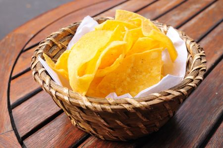 Chips in basket - Mexican chips in a basket on table photo