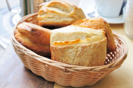 bread in basket - little roll breads in basket on table Stock Photo - 5671742