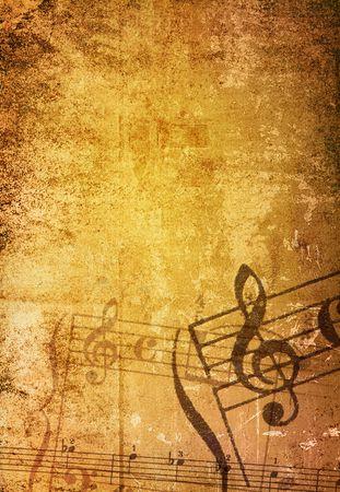 feuille froiss�e: musique grunge horizons - fond parfait avec espace pour le texte ou image Banque d'images