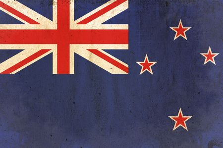 flag of new zealand - old and worn paper style photo