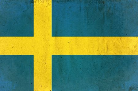 flag of sweden - old and worn paper style photo