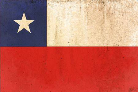 chile flag: flag of chile - old and worn paper style
