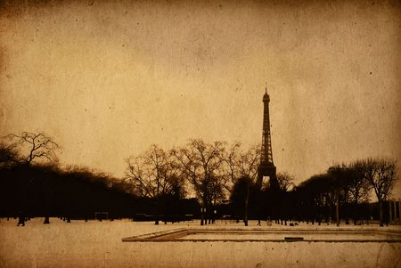 The Eiffel Tower in nightfall photo