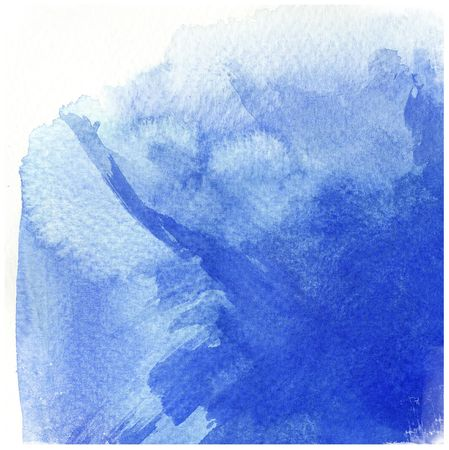 great blue watercolor background - watercolor paints on a rough texture paper photo