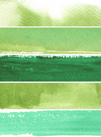 great watercolor background banners - watercolor paints on a rough texture paper  photo
