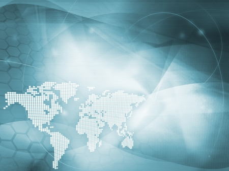 global connection: world map technology style - perfect background with space for text or image