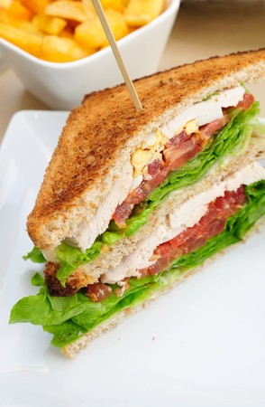 cuisine entertainment: Sandwich with French fries Stock Photo