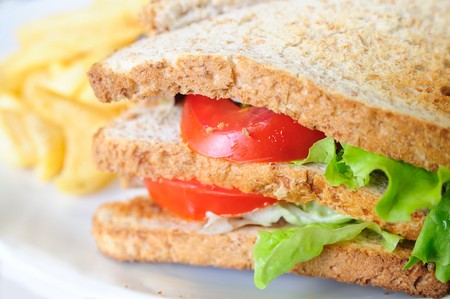 cuisine entertainment: Sandwich with chicken and lettuce Stock Photo