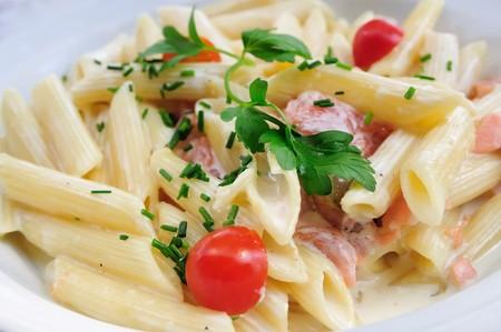 plate of pasta and smoked salmon photo