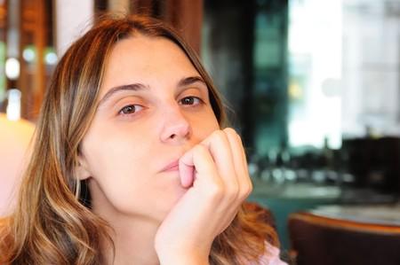 paris restaurant outdoor portrait of young woman