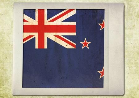 flag of vintage instant photo,new zealand photo
