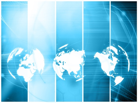 blue world map technology style - perfect background with space for text or image photo