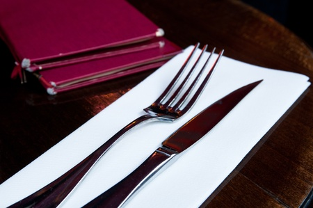 place setting-knife and fork on table Stock Photo - 8623388