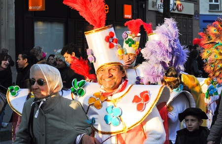 Paris,France-March 3,2011:Carnaval de Paris,Succeeding at the Feast of Fools, he is a big celebration since the sixteenth century. Forgotten for 45 years, the initiative is taken to its rebirth in 1993  Stock Photo - 9004306
