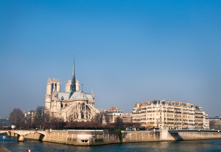 beautiful view Notre Dame Cathedral in paris france photo