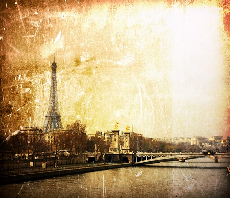 beautiful Parisian streets - The Eiffel Tower Stock Photo - 9124840