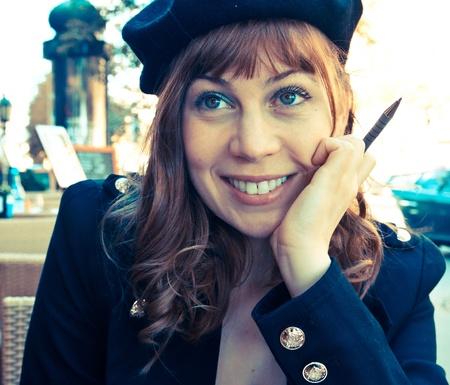 Female Outdoor Cafe Portrait in paris france Stock Photo - 9175217
