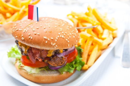 fast eat: Cheese burger - American cheese burger with fresh salad