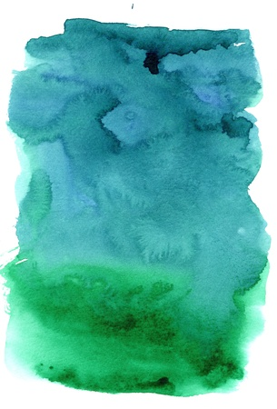 blue green background: great watercolor background - watercolor paints on a rough texture paper Stock Photo
