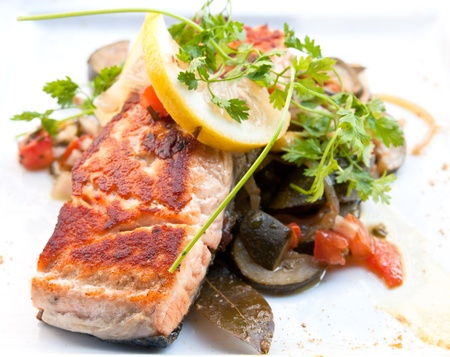 Grilled Salmon - with fresh lettuce and lemon  photo
