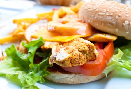 Cheese burger - American cheese chicken burger with fresh salad photo
