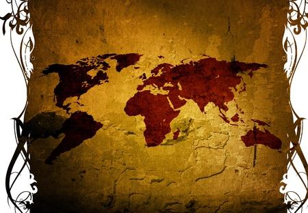 world map-vintage artwork for your design photo