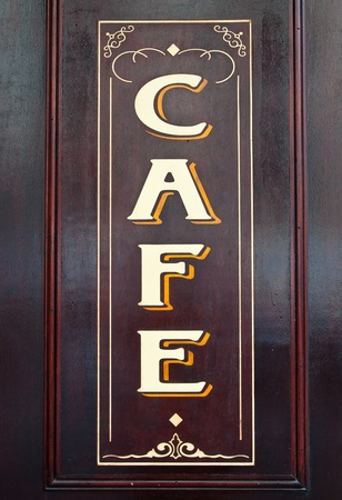 cafe: Wooden signs in the streets of Paris Cafe Stock Photo