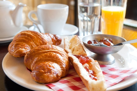 fresh croissant with orange juice ,Delicious! photo