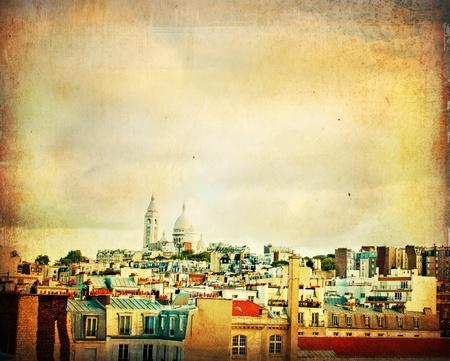 montmartre: Belle Sacr�-Coeur - avec espace de texte  Banque d'images