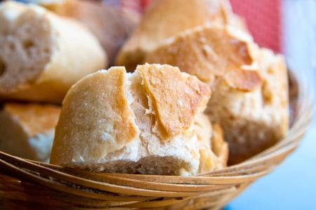 completed: bread in basket - little roll breads in basket on table