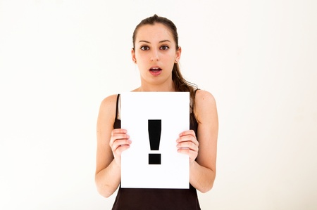 portrait young woman with board exclamation point Stock Photo - 9796219