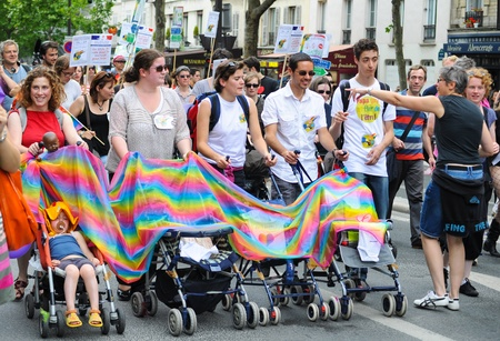PARIS - JUNE 25: Gay Pride Parade to support gay rights,on June 25, 2011 in Paris, France.