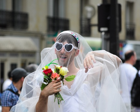 PARIS - JUNE 25: Gay Pride Parade to support gay rights,on June 25, 2011 in Paris, France.  Stock Photo - 9777563