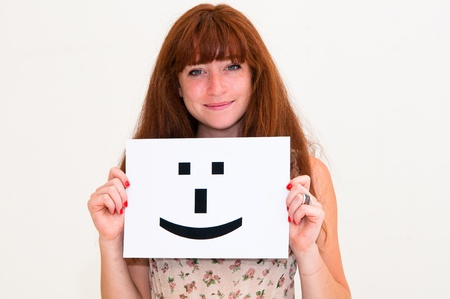 portrait young woman with board Smile face sign  photo