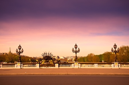 paris street: Pont Alexandre III is an arch bridge that spans the Seine, widely regarded as the most ornate, extravagant bridge in Paris.