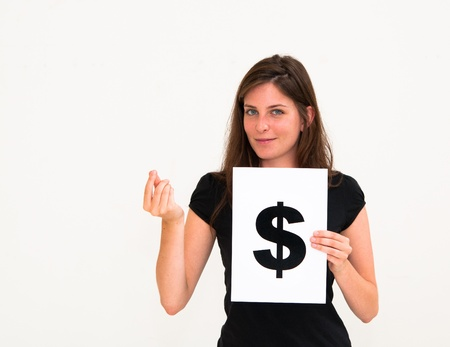portrait young woman with board dollar mark Stock Photo - 10305714