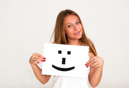 portrait young woman with board Smile face sign Stock Photo - 10305713