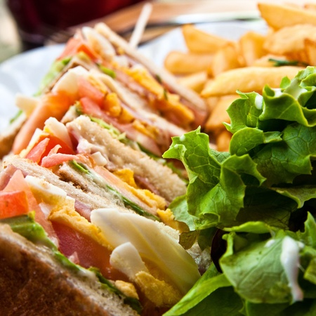 food buffet: Sandwich with chicken, cheese and golden French fries potatoes