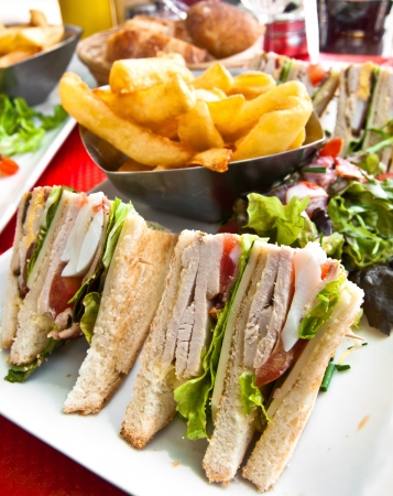 cuisine entertainment: Sandwich with chicken, cheese and golden French fries potatoes