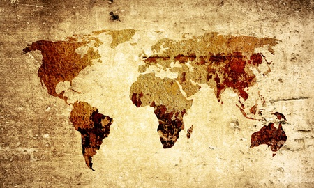 vintage world map: world map vintage artwork - perfect background with space for text or image Stock Photo