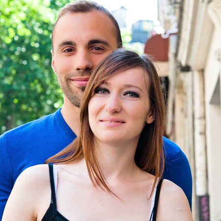 Young couple in love smiling in the streets Stock Photo - 10653782