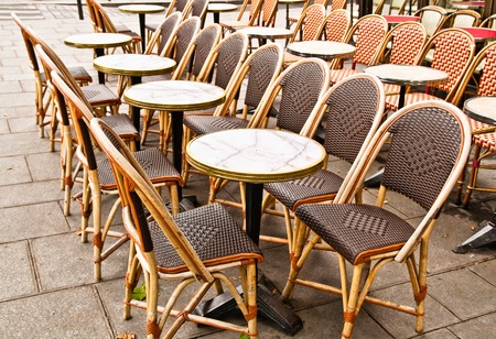 Street view of a Cafe terrace with empty tables and chairs,paris France Stock Photo - 10650118