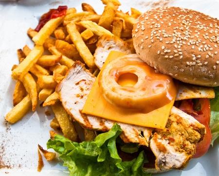 chicken burger: Cheese burger - American cheese chicken burger with fresh salad