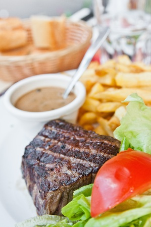 Delicious juicy steak beef meat photo