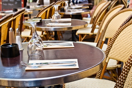 Street view of a Cafe terrace with tables and chairs,paris France Stock Photo - 10724179