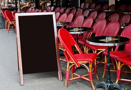 Paris street view of a Restaurant's terrace with blackboard Stock Photo - 10724254