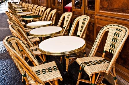Empty Cafe terrace in paris,France photo