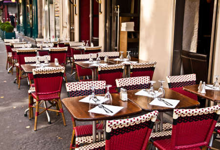 Street view of a Cafe terrace with tables and chairs,paris France photo